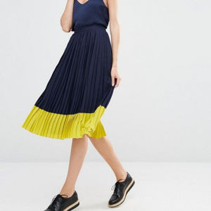 Whistles Colour Block Pleat Skirt, Navy/Yellow** 4